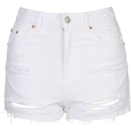 distressed white jean denim shorts