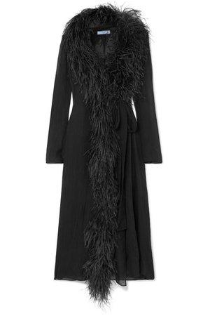 Prada | Feather-trimmed silk-crepon wrap dress | NET-A-PORTER.COM