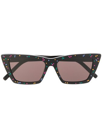 Saint Laurent Eyewear New Wave rhinestone-embellished Sunglasses - Farfetch