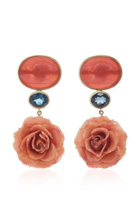 18K Yellow Gold Coral Venetian Glass Cameos Earrings by Bahina | Moda Operandi