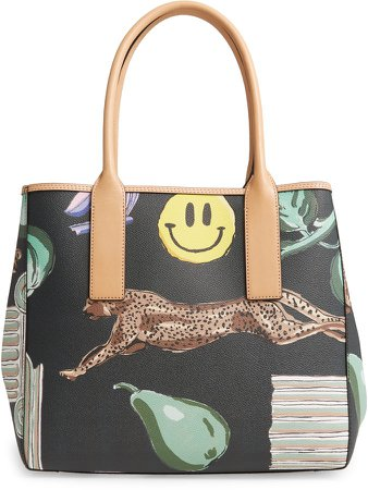 Logo Print Coated Canvas Tote