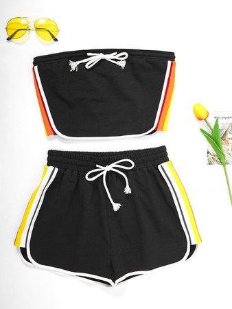 JurllyShe Side Multi-Color Striped Tube Top And Shorts Set