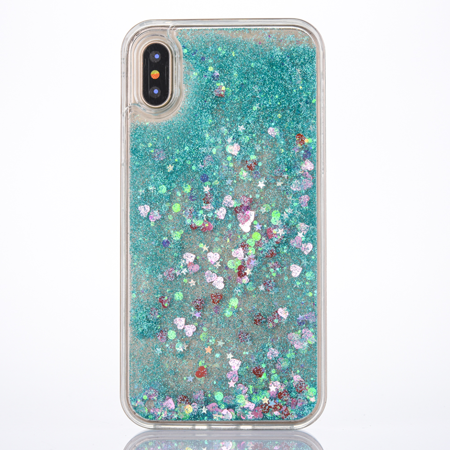 For iPhone X Pink Floating Hearts Liquid Waterfall Sparkle Glitter Quicksand Case - Walmart.com
