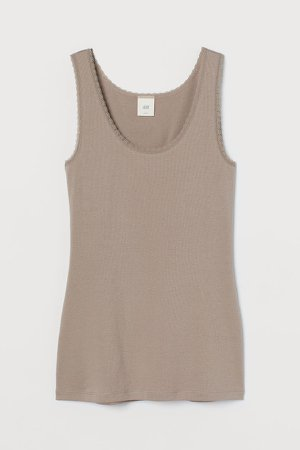 Lace-trimmed Tank Top - Brown