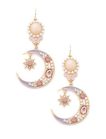 Faux Pearl Crescent Drop Earrings