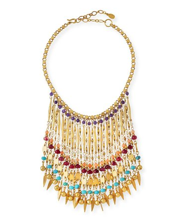 Sequin Bold Multicolor Beaded Statement Necklace
