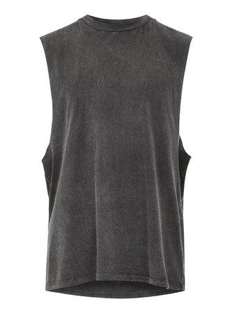 Washed Black Tank Vest - Shirts & Tanks - Clothing - TOPMAN USA