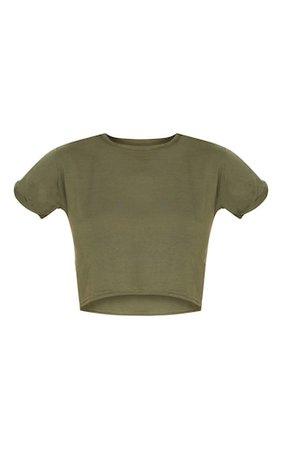 Basic Khaki Roll Sleeve Crop T Shirt   PrettyLittleThing