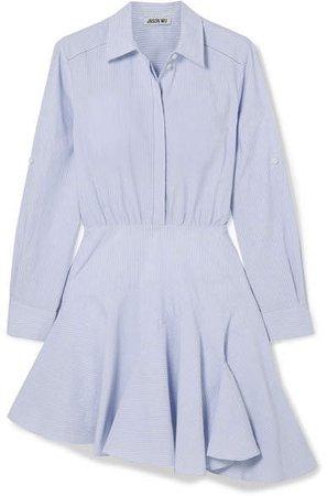 Asymmetric Striped Cotton-poplin Mini Dress - Blue