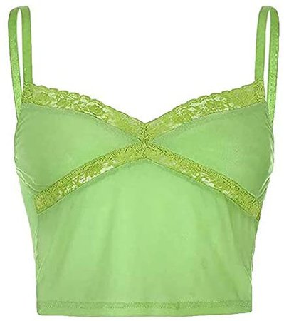 Women Girls Strappy Patchwork Top E-Girl Spaghetti Cami Shirts Sexy Lace Crop Top Y2K Tank Top (A Sheer Green, Small) at Amazon Women's Clothing store