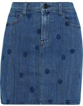Lyla Polka-dot Denim Mini Skirt