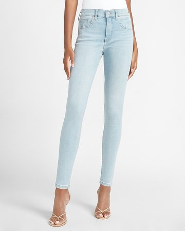 Mid Rise Denim Perfect Light Wash Skinny Jeans