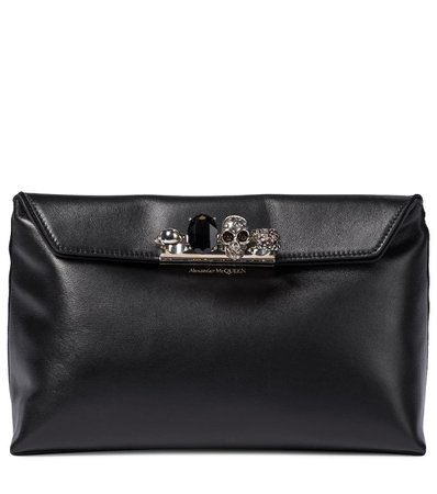 Alexander McQueen - Four Ring leather clutch | Mytheresa