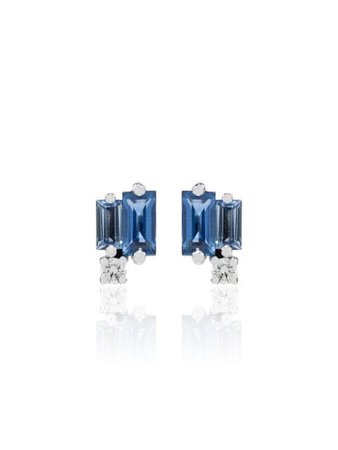 Suzanne Kalan 18kt White Gold Sapphire And Diamond Stud Earrings - Farfetch