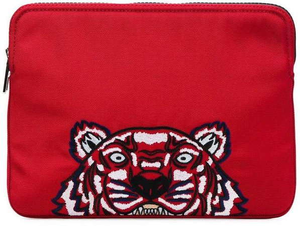 tiger embroidered clutch