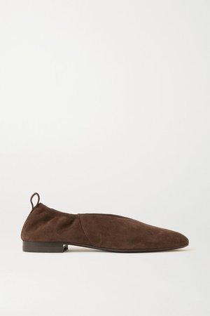 Suede Ballet Flats - Dark brown