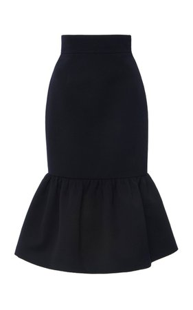 Ruffled Wool Cady Midi Skirt By Miu Miu | Moda Operandi