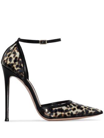 Gianvito Rossi Plexi 110mm leopard print pumps