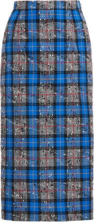 Alessandra Rich Wool Check Midi Skirt