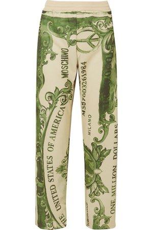 Moschino | Pantalon de survêtement en jersey satiné imprimé | NET-A-PORTER.COM