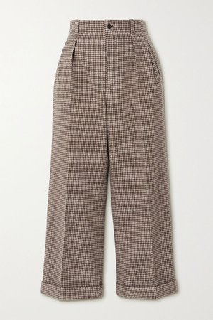 Brown Cropped pleated houndstooth wool wide-leg pants | SAINT LAURENT | NET-A-PORTER
