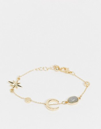 ASOS DESIGN chain bracelet with moon and star design in gold tone | ASOS