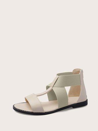 Open Toe Elastic Strap Cut Out Sandals