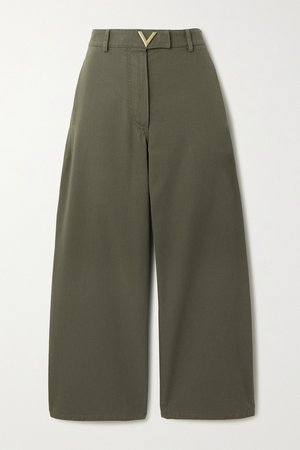 Green Cropped cotton-twill wide-leg pants | Valentino | NET-A-PORTER