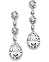 Amazon.com: Silver Clip On Earrings Teardrop Earrings Rhinestone Crystals Dangle Earrings Statement Chandelier Drop Earrings for Women (Silver Clip-On): Clothing