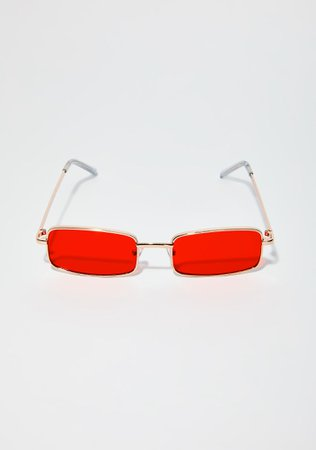 Red Rectangle Sunglasses | Dolls Kill