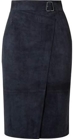 Belted Wrap-effect Suede Skirt - Navy