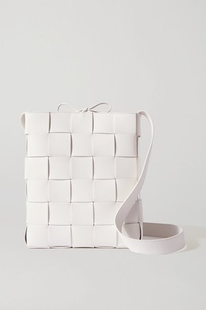 Cassette Intrecciato Leather Shoulder Bag - White
