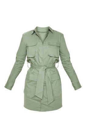 Petite Olive Khaki Utility Tie Waist Shirt Dress | PrettyLittleThing