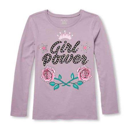 Girls Long Sleeve Glitter 'Girl Power' Rose Graphic Tee