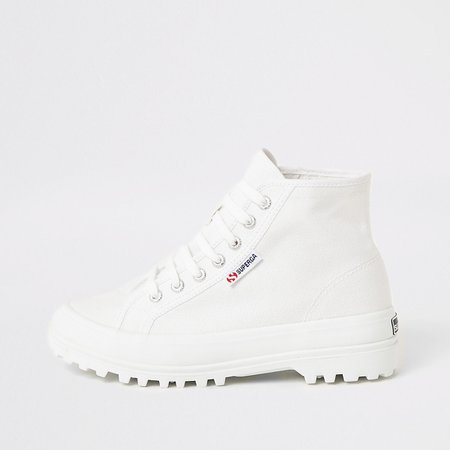 Superga white lace-up chunky sole boots   River Island