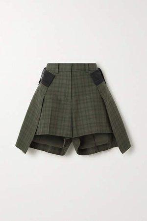 Layered Checked Cotton Shorts - Dark green