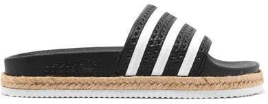 Adilette Bold Rope-trimmed Striped Rubber Slides - Black