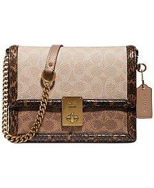 COACH Coated Canvas Signature Block Hutton Shoulder Bag & Reviews - Handbags & Accessories - Macy's