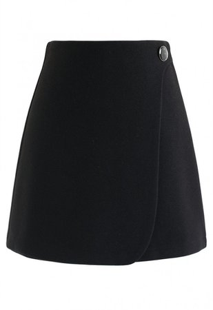 Button Decorated Flap Mini Skirt in Black - Skirt - BOTTOMS - Retro, Indie and Unique Fashion