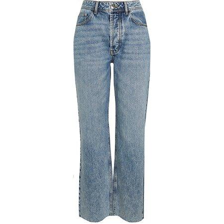 Blue mid rise straight leg jeans | River Island