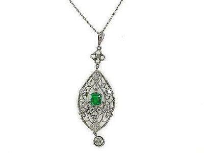 Vintage Emerald and Diamond Pendant