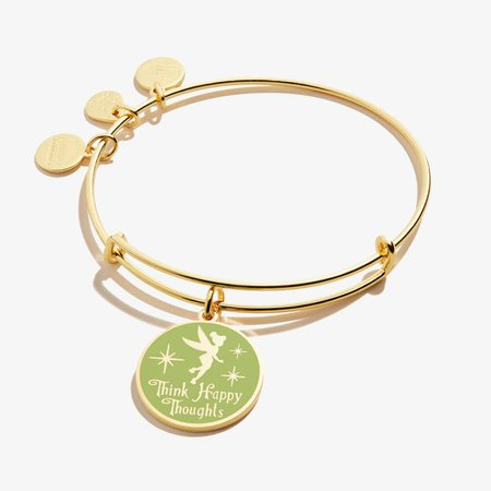 Disney Tinker Bell Green Expandable Wire Bangle, Shiny Gold Finish | ALEX AND ANI