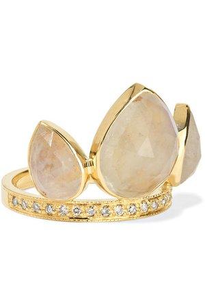 Jacquie Aiche | Ring aus 14 Karat Gold mit Mondstein und Diamanten | NET-A-PORTER.COM
