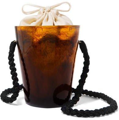 Montunas - Lirio Resin And Silk-satin Bucket Bag - Brown