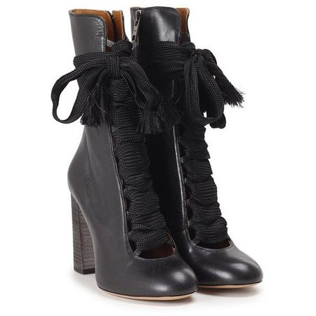 CHLOE' Harper lace-up leather ankle boots