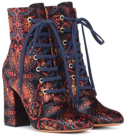 Etro Paisley Velvet Print Ankle Boots