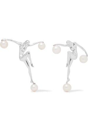 Paola Vilas   Gilot silver pearl earrings   NET-A-PORTER.COM