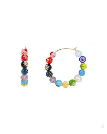 Rebecca Minkoff Rainbow Bead Hoop Earrings   Neiman Marcus