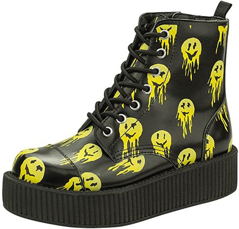 *clipped by @luci-her* T.U.K. Shoes Drippy Smiles Viva 7 Eye Creeper Boot EU37 / UKW4 Black: Amazon.co.uk: Shoes & Bags