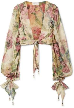 Melody Cropped Tie-front Floral-print Silk-crepon Top - Beige